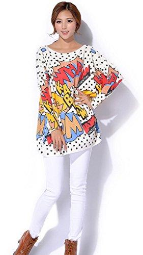 Bigood Pull Manche Longue Femme Sweat-shirt Grande Taille Veste Col Rond Casual Automne Hiver Mode Blanc