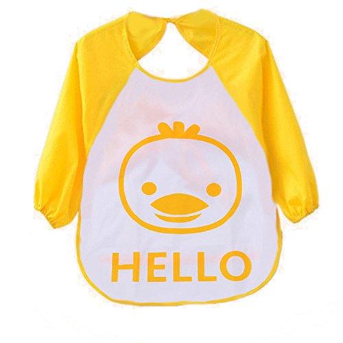 Ularma 1pc niños niño Cartoon delantal transparente plástico suave impermeable baberos (amarillo)