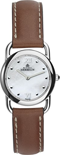 Michel Herbelin Equinox Women's Quartz Watch with Mother of Pearl Dial Analogue Display and Brown Leather Strap 17467/19GO