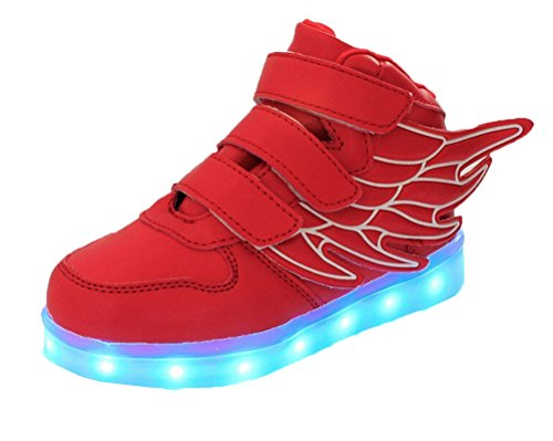 Flashing Skidproof Shoes Ake Children Charging Wing Sport Red Sneakers USB LED Luminous Light Schuhe TpTgYwq