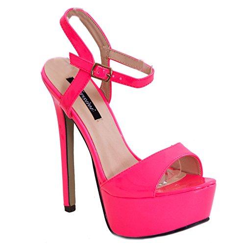 Toocool - Scarpe donna sandali decolletè decoltè lucide vernice cinturino nuove tacco alto RD-21104 Rosa