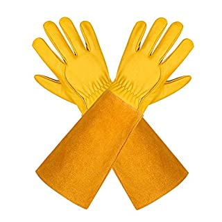 Leather Gardening Gloves for Women and Men - Isilila Breathable Rose Pruning Gloves with Thorn Proof Gauntlet, Long Cowhide Sleeves Garden Work Gloves for Gardener and Farmer (Medium, Yellow)