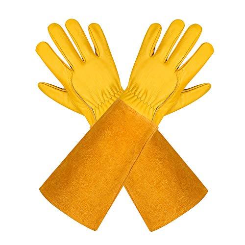 Gartenhandschuhe aus Leder für Damen und Herren - Isilila atmungsaktive Rosen-Handschuhe mit Dornschutzhandschuh, Lange Rindslederärmel, Gartenarbeitshandschuhe für Gärtner und Bauern, gelb