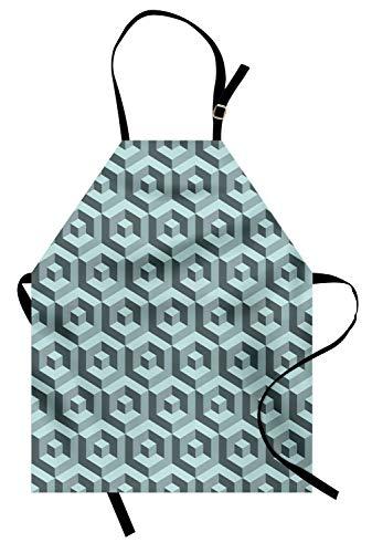 Abakuhaus Modern Kochschürze, Labyrinth-Art-Digital-Maß-Würfel-abstrakte futuristische ununterbrochene Linien Artsy Grafik, Farbfest Höhenverstellbar Waschbar Klarer Digitaldruck, ()