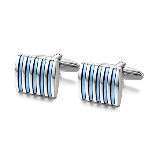 Peora Unique Shirt Cufflinks for Men Business Co-Operate Wedding Gift (Blue)