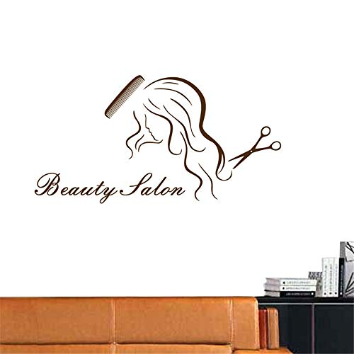 zlhcich Friseursalon Aufkleber Schönheit Schere Aufkleber Haarschnitt Name Poster VinylWandkunstAufkleber Dekor Dekoration Wandbild Salon Aufkleber68 * 95 cm