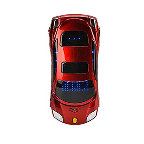 Tookie Mini Téléphone portable à clapet, Double SIM, double veille, téléphone en forme de voiture roadster, FM, GSM,Bluetooth, MP3, Réveil, red