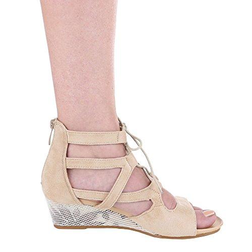 Damen-Schuhe Sandaletten | elegante Wedges mit Keil Absatz und Schnür Verschluss in verschiedenen Farben und Größen | Schuhcity24 | mit Reißverschluss Beige