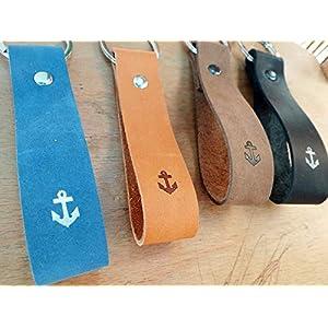 personalisiertes Geschenk Schlüsselanhänger aus Leder ANKER mit Wunschtext mit eigenem Text, Name oder Koordinaten frei wählbar