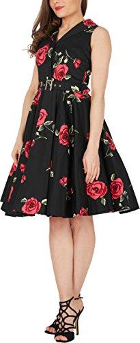 Black Butterfly 'Luna' Retro Infinity Kleid im 50er-Jahre-Stil Große Rote Rosen