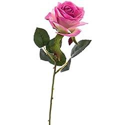 artplants Set 6 x künstliche Rose Simony, rosa-pink, Textil, 45 cm, Ø 8 cm - Kunstblume/Deko Blume