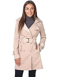 KRISP® Femmes Manteau Trench Coat Uni avec Ceinture Tendance