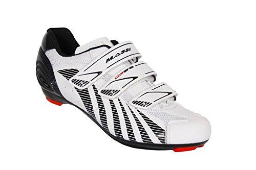 Massi Ares - Scarpe da Ciclismo su Strada Unisex, Color Bianco/Nero, Taglia 46