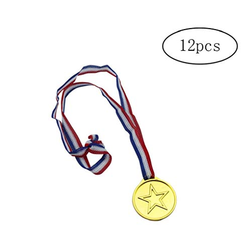 12st Goldmedaille Plastikkind Gold Medaillen Plastikgold Halskette Werkzeuge Sieger-preis-medaillen Für Kinder