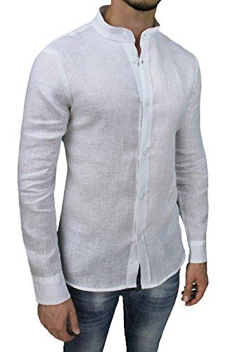 Camicia uomo sartoriale 100% puro lino slim fit bianco casual elegante (xxl)