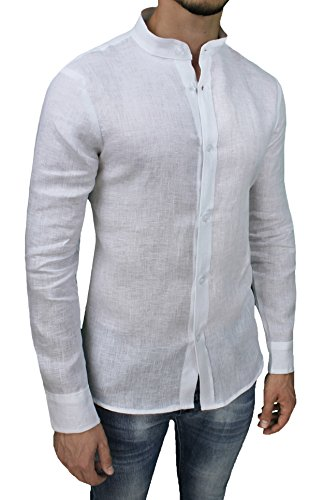 Camicia uomo sartoriale 100% puro lino slim fit bianco casual elegante (xl)
