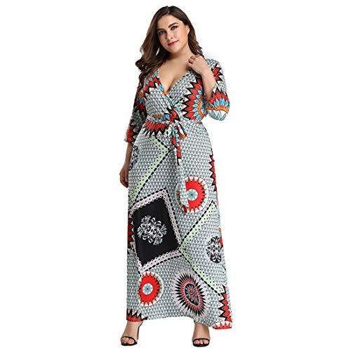 LJ-hrdmd Large Size Damen Kleid, Ladies Dress, Casual Sommerkleid mit Split, V-Ausschnitt Sexy Split Large Size Check Kleid (Size : 3XL) -