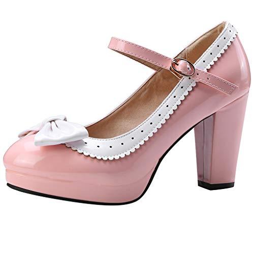 Makefortune-Schuhe Damen Damen High Heel Mary Jane Strap Arbeit Classic Vintage Ausgeschnitten Pumps Pumps Bowknot Decor runde Kappe Cosplay Sandalen Heels Größe 4-8 (Mary Vans Janes)