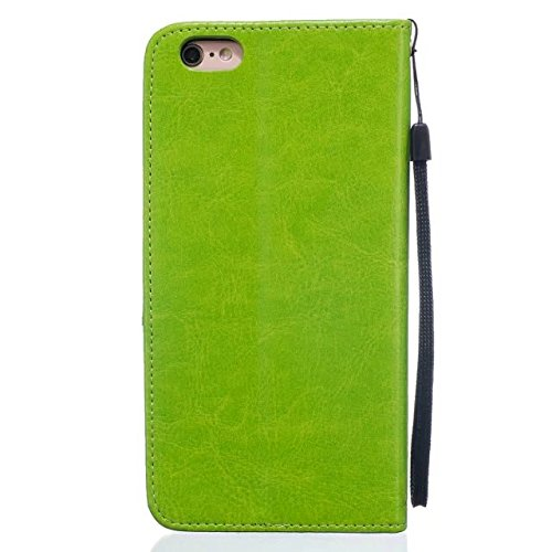 iPhone Case Cover IPhone 6s Plus Case, de haute qualité Premium PU Housse en cuir Housse de couleur solide Dandelion Embossing Portefeuille Case Housse pour iPhone 6 Plus 6S Plus ( Color : Green , Siz Green