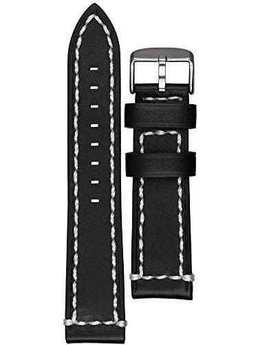 Astroavia Uhrenarmband weiches Kalbsleder schwarz Edelstahl Dornschließe 22mm L3