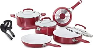 WearEver Pure Living Nonstick Ceramic Coating PTFE-PFOA-Cadmium Free Dishwasher Safe Cookware set, 10-Piece, Red