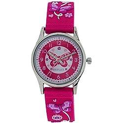 Reflex Time Teacher Kids Girls Pink 3D Silicone Butterfly Strap Watch REFK0011