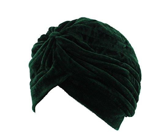 Zac\'s Alter Ego plissierter Samt-Turban, Vintage, ideal bei Haarverlust oder als Mode-Accessoire, grün