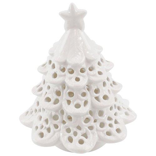 Windlicht Weihnachtsbaum, Porzellan, weiß, Weihnachtsdeko, Kerzenhalter, Teelichthalter, Höhe ca. 14cm