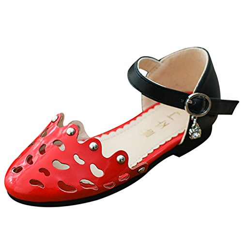 Oasap Girl's Round Toe Hollow out Buckle Mary Jane Shoes red