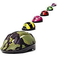 3Style Scooters® - Kids Cycle Helmet In Green Camouflage Design - For Cycling, Skating, Scooting - Adjustable Headband 53cm - 55cm - Suitable for Aged 7+ (L)