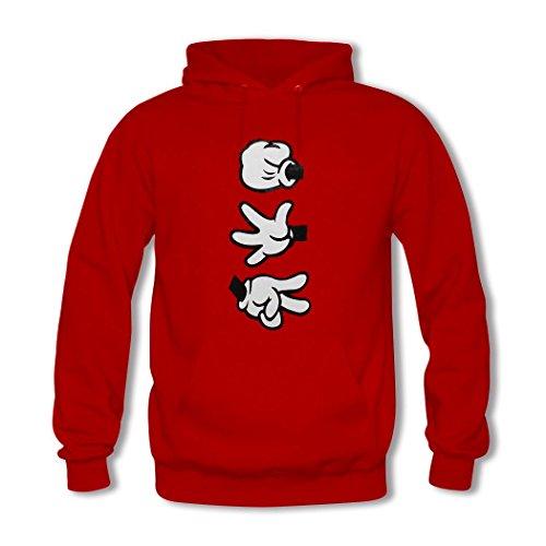 HGLee Printed Personalized Custom Rock Paper Scissors Womens Hoodie Hooded Sweatshirt Red