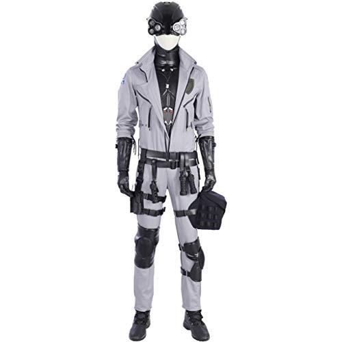 nihiug Anime Cyberpunk 2077 COS Kleidung Schreckensgruppe mit der gleichen Kleidung Cosplay Full Outfit Männliche Erwachsene Halloween-Kostüm,Grey-3XL(188to192) (Cyberpunk Halloween Kostüm)