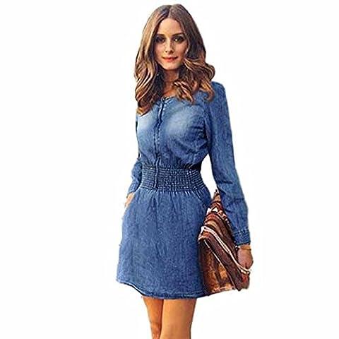 Bluestercool Frauen Jahrgang Frühjahr/Herbst Langarm Slim Casual Denim Jeans Party Minikleid (S) (Jeans Kleid)