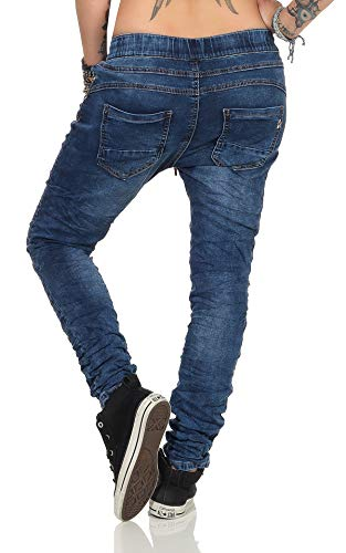 Fashion4Young 3913 Damen Jeans Hose Boyfriend Haremsjeans Gummibund Jogg-Pants Röhrenjeans Slim-Fit (Dunkelblau, XS-34) -