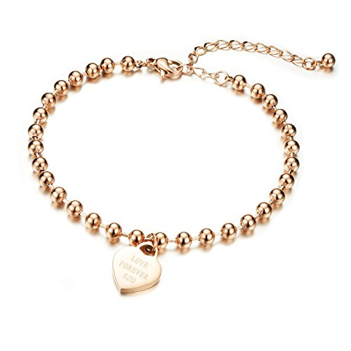 Damen Fußkettchen Armband mit Gravur Roseold , Gutcandie Edelstahl Kugel Perlenkette Armkette Armreif mit Herz Anhänger Fußkette Panzerarmband (Armband)