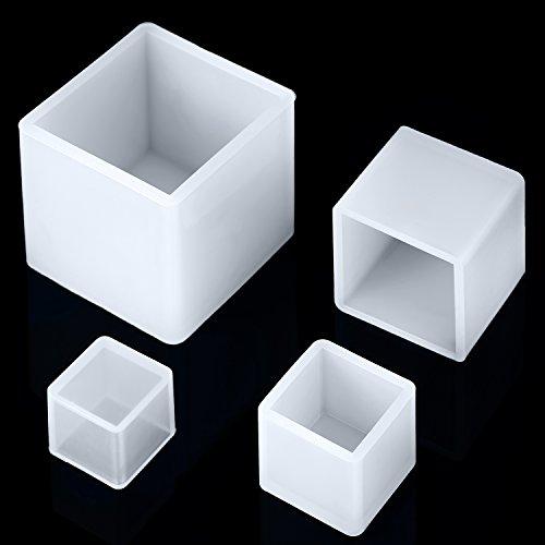 Jovitec 4 Stück Platz Harz Schimmel Cube Silikon Formen Harz Casting Formen für DIY Handwerk Herstellung, 4 Größen