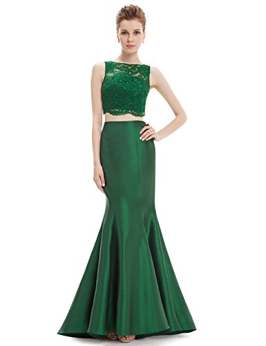 Ever Pretty Robe de cocktail longue deux-pi¨¨ces Fishtail 08434 Vert