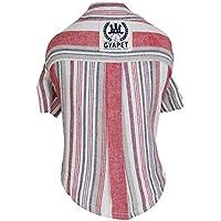 ShenyKase Moda Camisa del Perro del Animal doméstico de Rayas de Manga Corta cómoda Fina Camisa de Lino de algodón Ropa para Perros Universal para la Primavera Verano