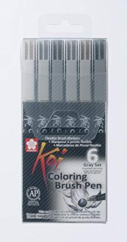 Sakura XBR-6 Koi Coloring Brush Pen Gray-Set, 6 Pinselstifte -