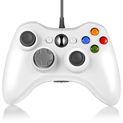 INLIFE Xbox 360 Controller Gamepad Cablato USB, Joystick, Joypad con Cavo USB Compatibile per Windows XP/7/8/8,1/10 e Xbox 360 con Cavo (Bianco)