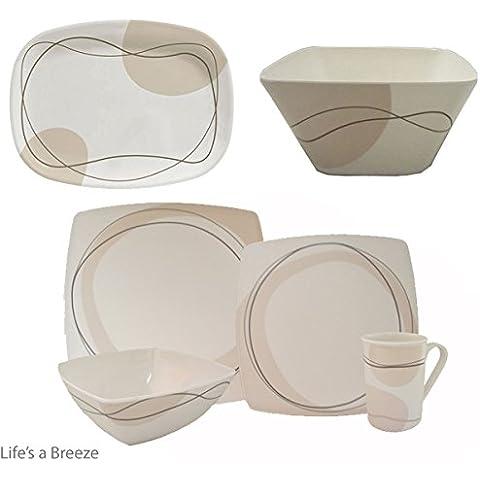 Se envía el juego incluye servicio de mesa con diseño de café 16 piezas Vajilla de, fuente y ensaladera