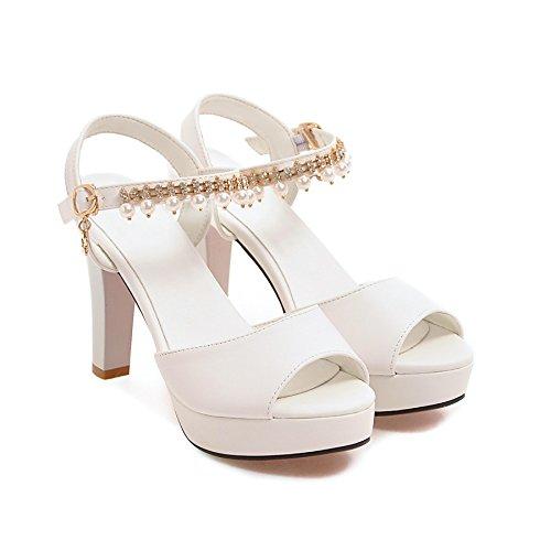 LGK&FA Estate Donna Sandali sandali Ladies Estate con spessi tacchi alti di tavola di acqua Bocca di pesce scarpe 37 nero tacchi alti 9cm 39 white high heels 9cm