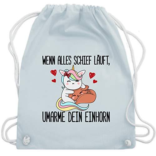 Einhörner - Wenn alles schief läuft, umarme dein Einhorn - Unisize - Pastell Blau - WM110 - Turnbeutel & Gym Bag