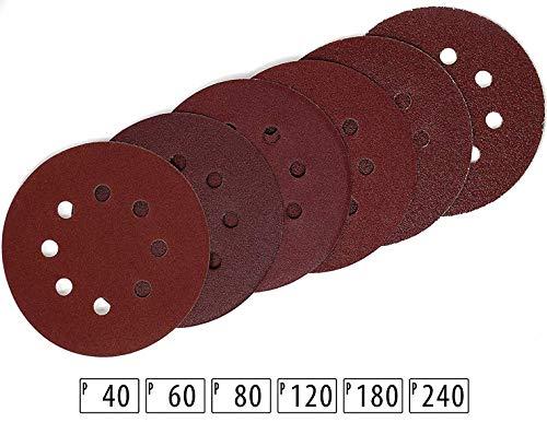 60 Stück Schleifscheiben Ø 125mm für Exzenter-Schleifer | Körnungen 40, 60, 80, 120, 180, 240 jeweils 10 Blatt | 8-Loch mit Klettsystem -Perfekt für Holz, Metall, Stahl, Leder / Schleifen / Polieren