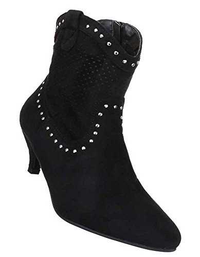 Damen Stiefeletten Schuhe Cowboy Perforierte Western Boots Schwarz Beige Braun 35 36 37 38 39 40 41 Schwarz