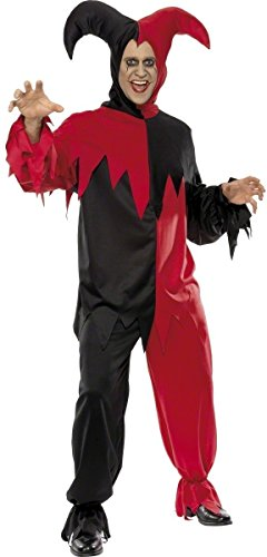 Mens Dark Jester Evil Medieval Clown Circus Halloween Fancy Dress Costume Outfit ()