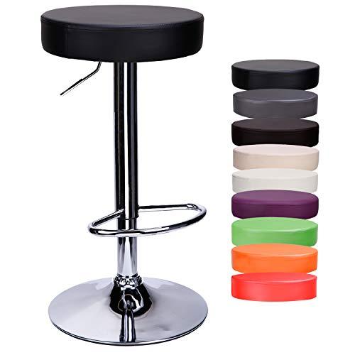 CCLIFE 1er/2er-Set Rund Barhocker Barstuhl ohne Lehne Höhenverstellbar Drehbar Kunstleder für Küche usw. 63-83 cm, Farbe:Schwarz, Größe:1er-Set