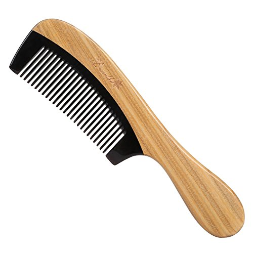 breezelike Haar Kamm–keine statische Natürliche Detangling Sandelholz Horn Kamm–handgefertigt Holz Massage Kamm mit Geschenkbox (Horn Kamm Schnurrbart)