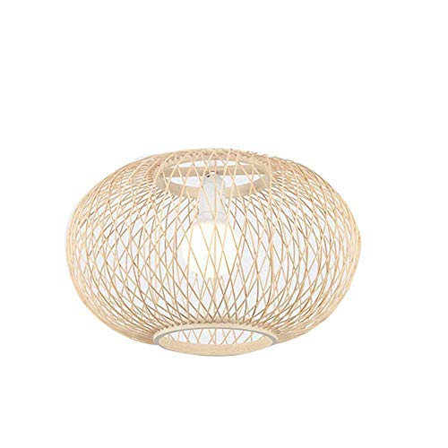 M-TK Retro Style Lantern Pendant Lampe, Bamboo Lampshade, Bedroom Living Room Ceiling Chandelier Teahouse Dining Room Bamboo Lamp Bar Cafe Club Single Head Hanging Lampe, E27,S