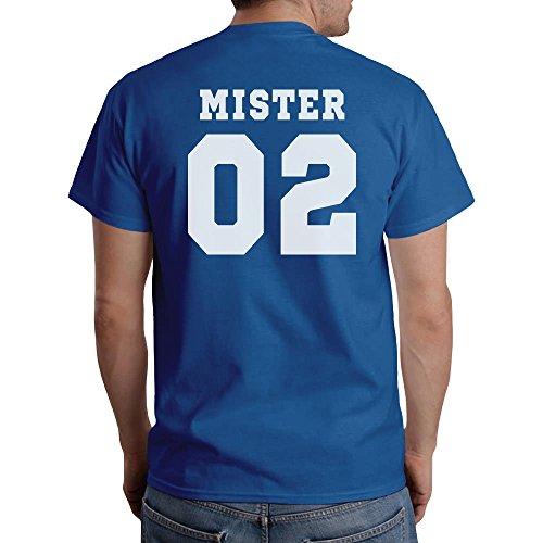 Mister Misses - Partner T-Shirt Geschenkidee WUNSCHZAHL T-Shirt Mister-Blau